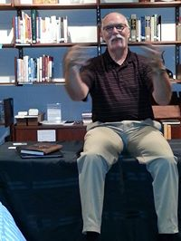 Gary Lawrence at a short-story reading in Rockford IL